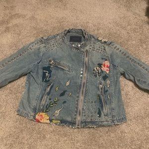 Floral denim studded jacket